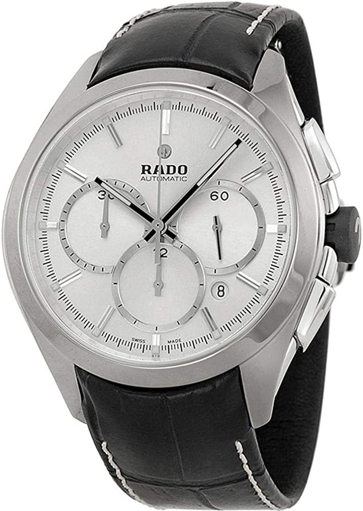 Rado HyperChrome Ceramic Plasma Automatic Chronograph Silver Dial Men's Strap Dress Watch Calendar R32276105