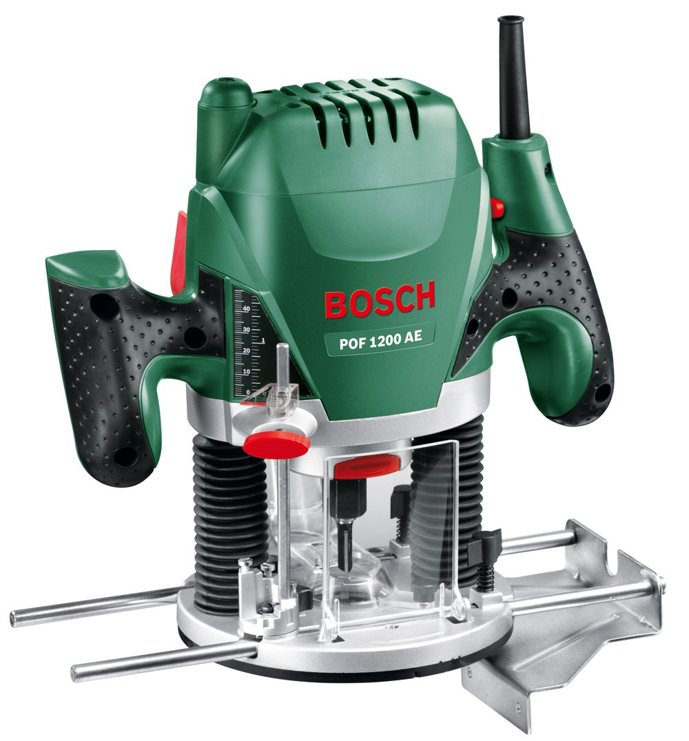 Bosch POF 1200 AE - Fresadora de superficie, fresa de ranurar, adaptador de aspirar, llave de boca,casquillo copiador, tope paralelo, 3 pinzas de sujección,...