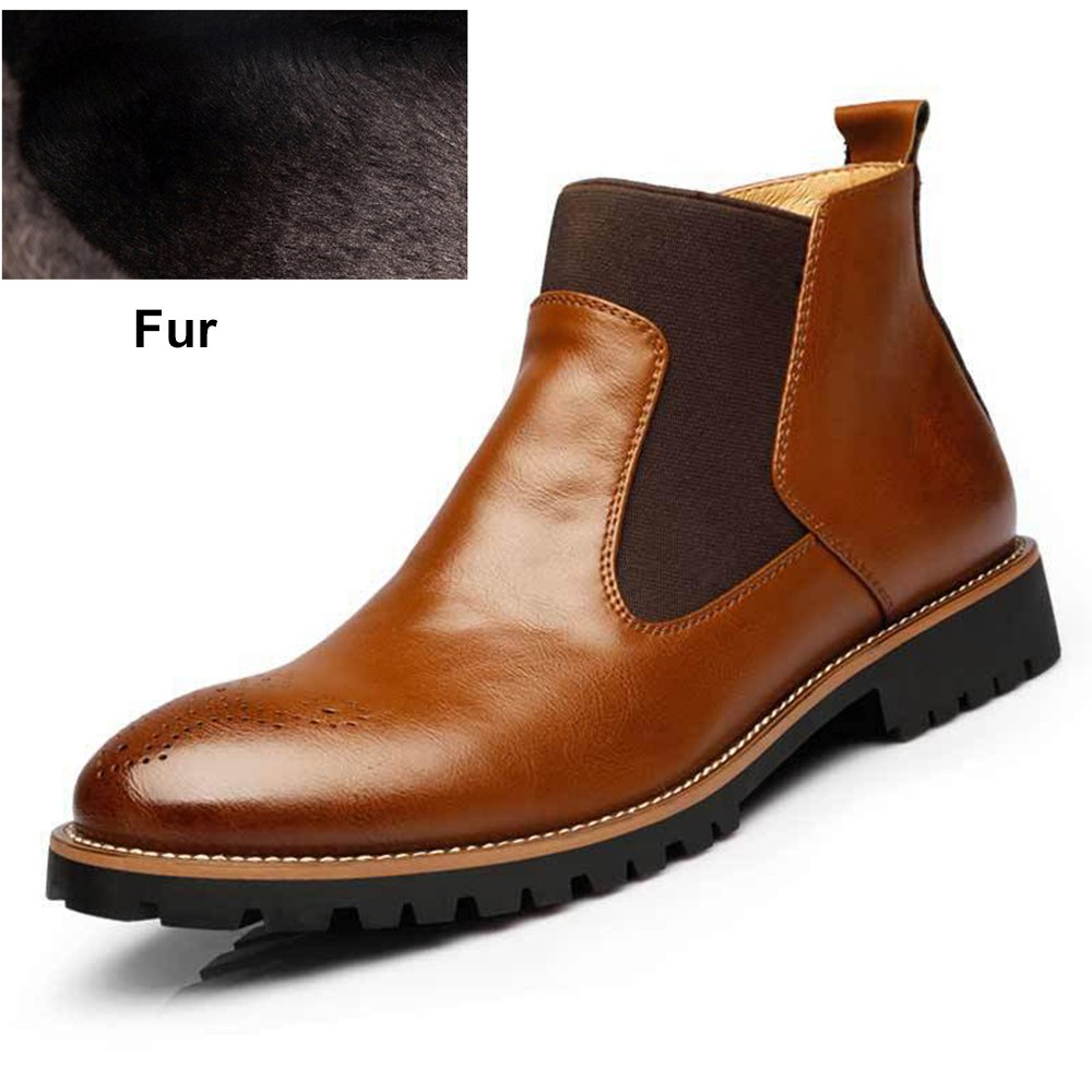 Men Chelsea Boots Real Leather Plus Size Shoes Fur European Boots Pointed Toe
