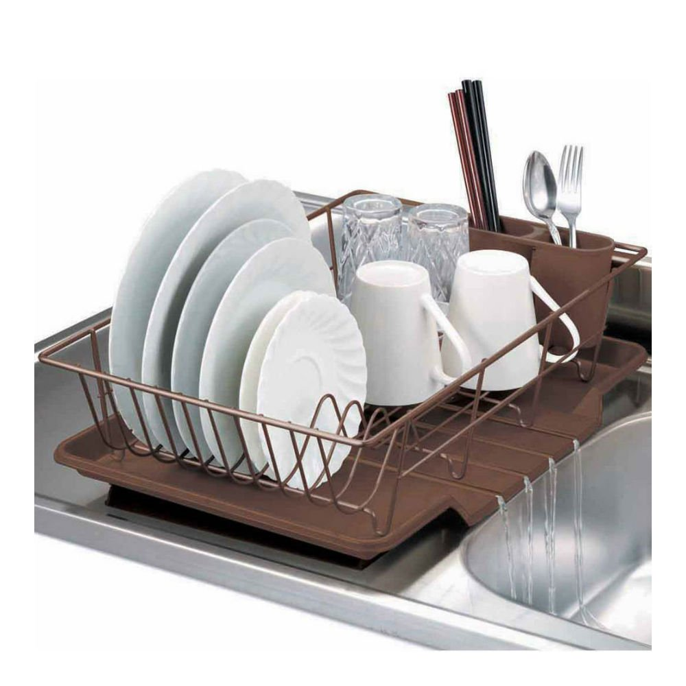 Home Basics 3-Piece Kitchen Sink Dish Drainer Set White, Bronze (BRONZE)