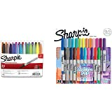 Sharpie 75846 Permanent Markers, Fine Point, Assorted Colors, 24-Count & Electro Pop Permanent Markers, Ultra Fine Point, Assorted Colors, 24 Count