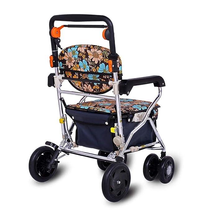 GTT Carro de Compras aleación de Aluminio polea con discapacidad con Asiento Andador rollator Altura Ajustable Plegable portátil para Personas Mayores para ...