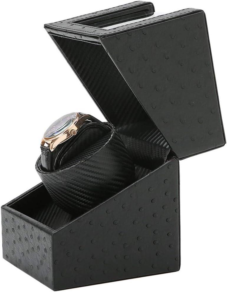 XTELARN Enrollador Automático De Un Solo Reloj con Estuche De Caja De Almacenamiento De Exhibición De Relojes De Cuero PU, Motor Extremadamente Silencioso - Negro: Amazon.es: Hogar