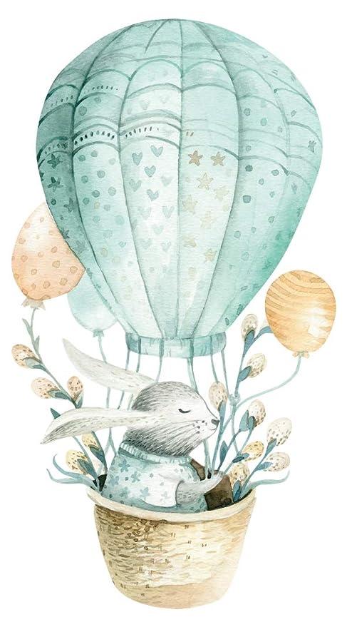 Pegatina de pared en acuarela habitación infantil Conejo dulce en globo aerostático con elementos florales aspecto