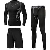 Sykooria 3 Piezas Conjunto de Compresión Deportiva Hombre Camisetas de Manga Larga + Mallas de Running + Pantalon…