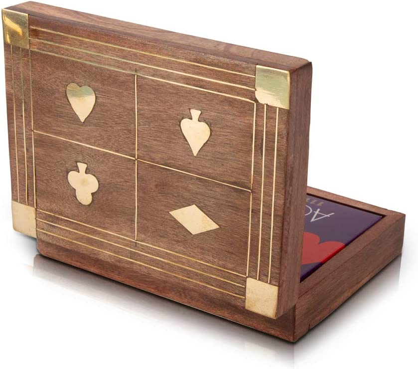 Unique Birthday Gift Ideas Handcrafted Classic Wooden Playing Card Holder Deck Box Storage Case Organizer With 2 Sets of Premium Quality Ace Playing Cards Anniversary Housewarming Gifts Him Her