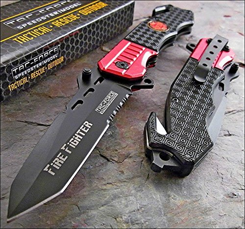 Cheap TAC FORCE Spring Assisted Open Rescue FIRE FIGHTER Glass Breaker Pocket Knife