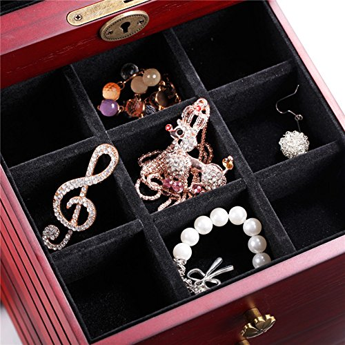 Wooden Jewelry Box Cabinet Armoire Ring Necklacel Gift Storage Box(CHERRY-2) by Rowling (Image #5)
