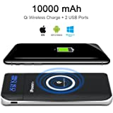 Wireless Power Bank Portable 10000mAh Qi Wireless Charger iPower 3 in 1 External Battery Pack for Qi Enabled Smartphones(iPhone 8, 8 Plus, iPhone X , Samsung Galaxy Note 8, GS8, S7/S6/S8/Edge) More