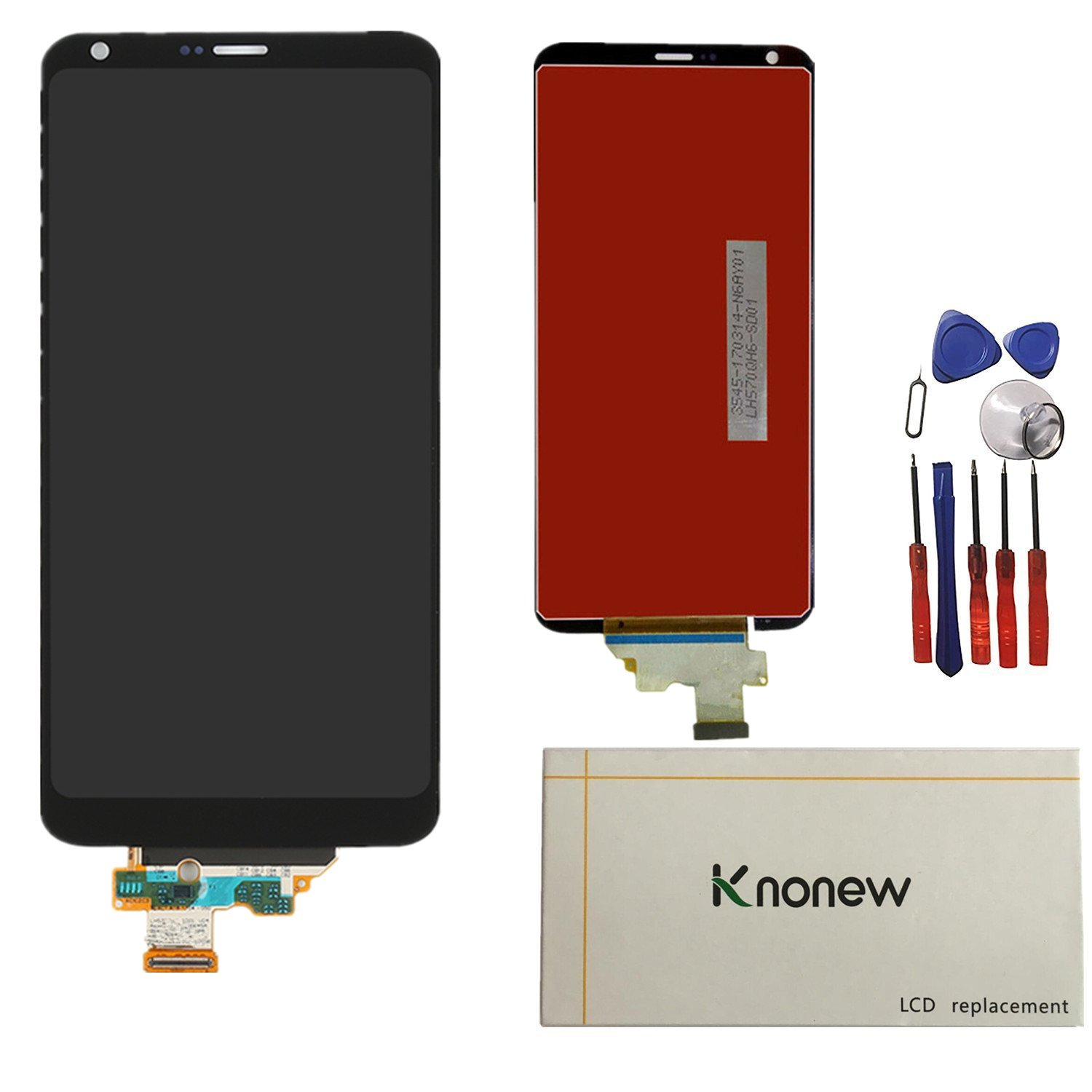 KNONEW Glass LCD Display Touch Screen Digitizer Assembly Replacement part For LG G6 H870 H871 H872 LS993 VS998 US997 LCD + Tools (Black)