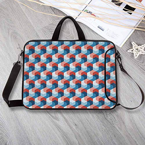 Fractal Decor Anti-Seismic Neoprene Laptop Bag,Mosaic Style Hexagonal Mirroring Geometric Shape Creative Trippy Pattern Design Laptop Bag for Travel Office School,14.6