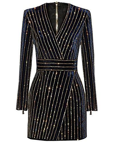 UONBOX Women's Rhinestone Embellished Long Sleeves V Neck Velvet Bandage Cocktail Dress (S, Black1)