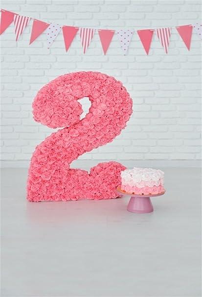 LFEEY 3x5ft Girl 2nd Birthday Backdrop White Birck Wall Room Decor Kids Baby 2 Years Old