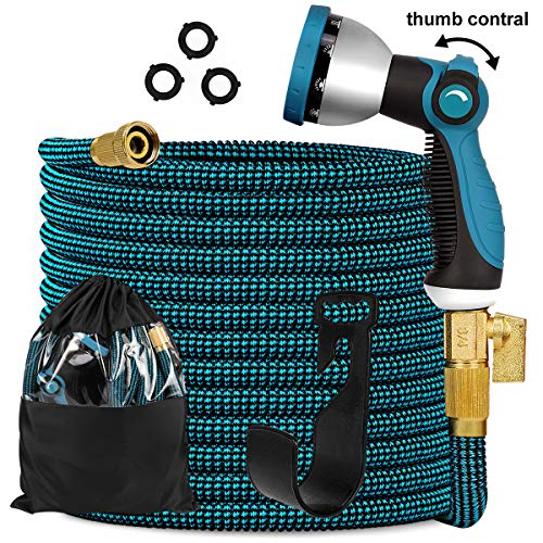 Knoikos Expandable Garden Hose 100ft – Expanding Flexible Water Hose with Durable 3750D /3/4″ Solid Brass Connectors /10 Function Nozzle,Easy Storage Kink Free Garden Water Hose