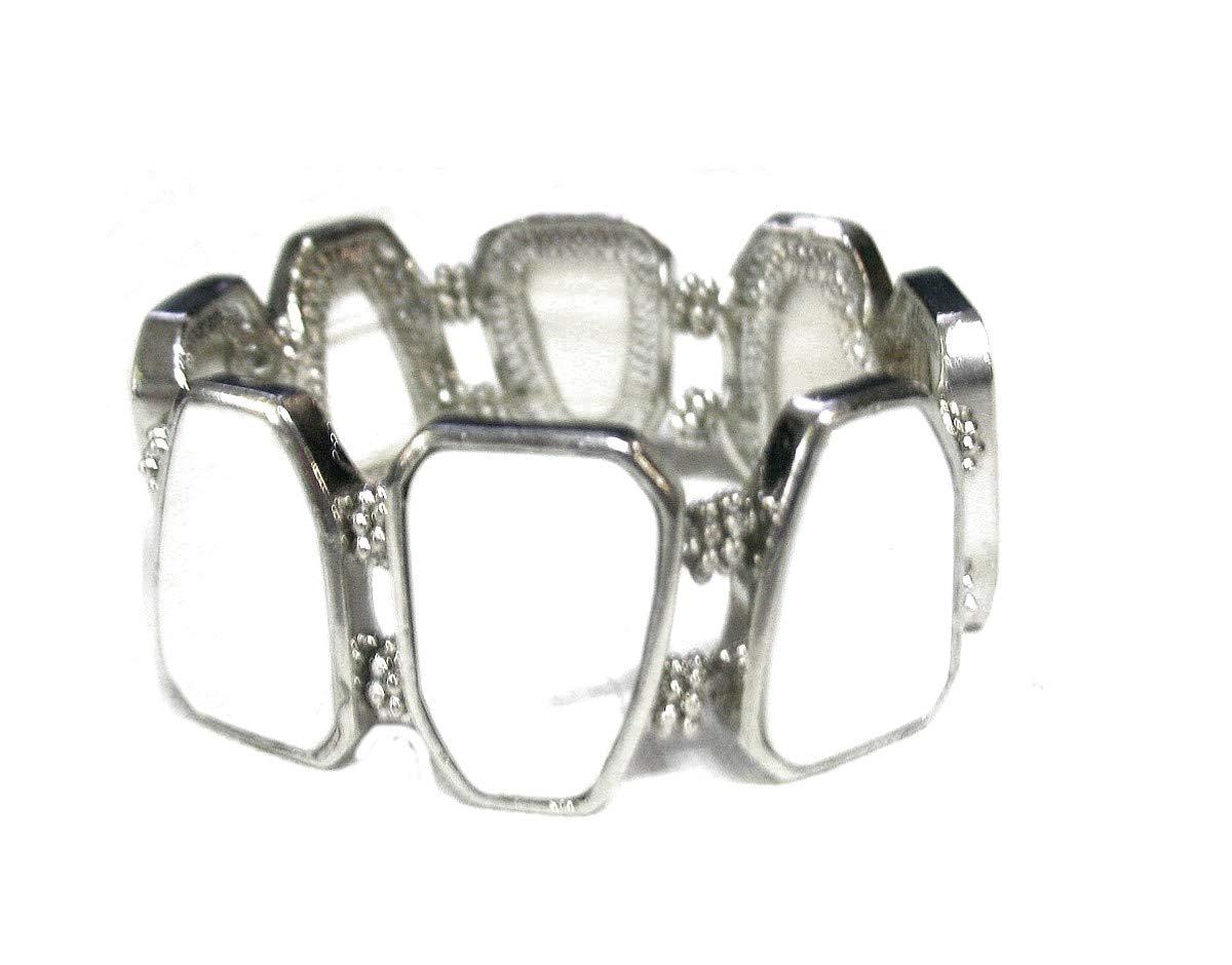 Roger Enterprises Vintage Style Stretch Bracelet Large Square Shaped
