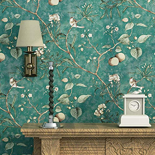 Blooming Wall Vintage Flower Trees Birds Wallpaper for Livingroom Bedroom Kitchen,57 Square Ft. Green