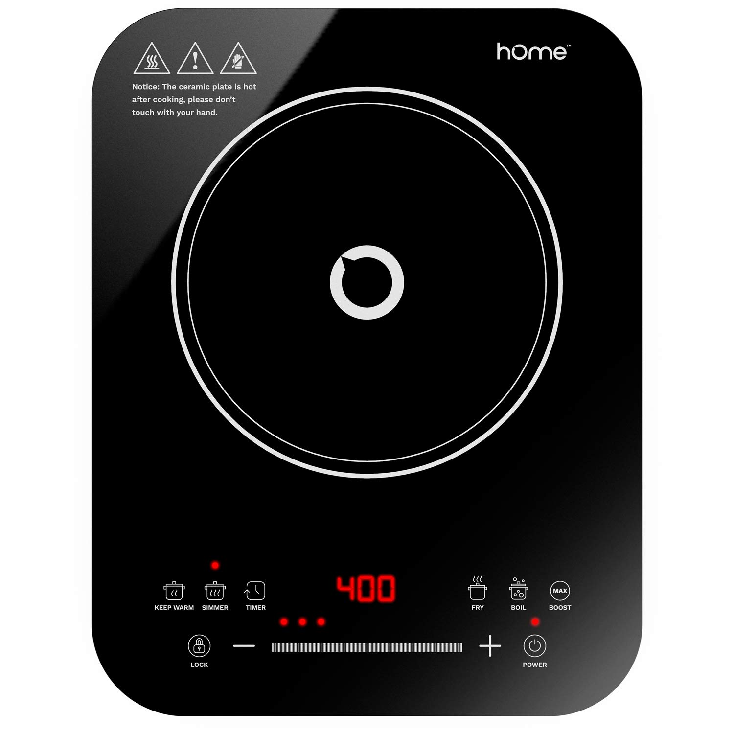 hOmeLabs Portable Induction Cooktop - Powerful Single Burner Electric Countertop Stove - Features 10 Heating Levels, 6 Cook Modes, Touch Controls and Child Safety Lock