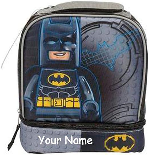 BLACK PERSONALISED LEGO BATMAN INSULATED SCHOOL LUNCH BAG
