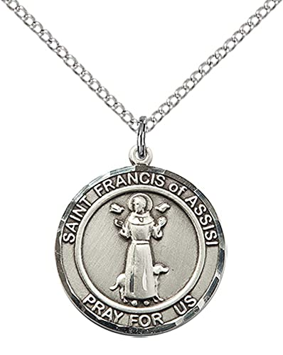 Sterling silver st francis of assisi pendant with 18 sterling sterling silver st francis of assisi pendant with 18quot sterling silver lite curb chain aloadofball Choice Image
