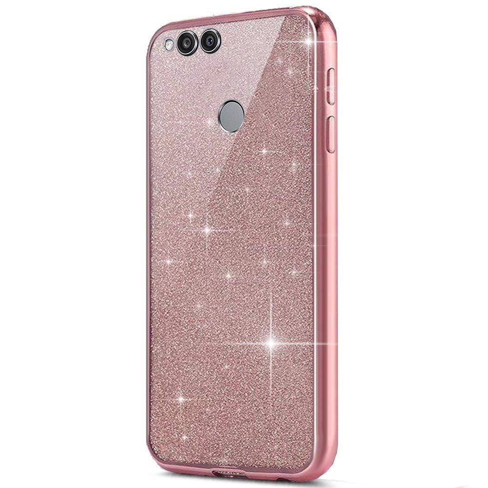 ,argento antigraffio compatibile con Custodia Huawei Honor 7X Cover tpu,MoreChioce Glitter Diamond Strass Specchio TPU Silicone Case Cristallo protettive backcover