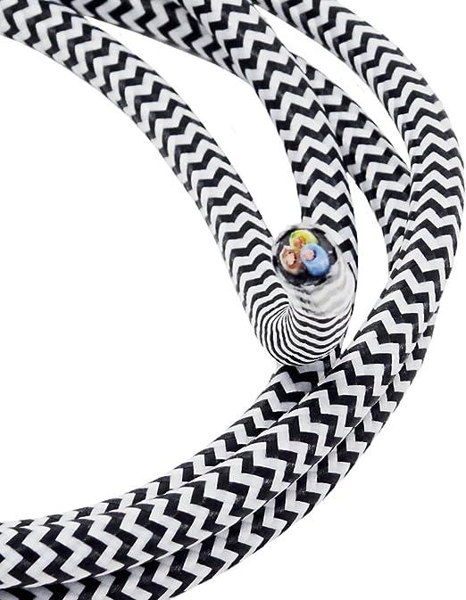 C/âble textile 5 ou 10 m Longueur/: 3 Avec 3 fils Dentel/é Noir et blanc