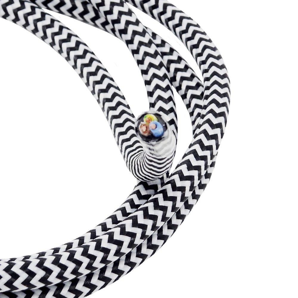 Plástico Cable Negro/Blanco 1,20m cable de tela de 3conductores 3x 0,75mm² Zig Zag recubierto Cable lámpara de cable Cable