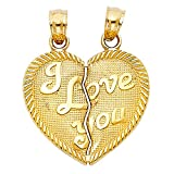14k Yellow Gold ''I Love You'' Couple Broken Heart Pendant Charm