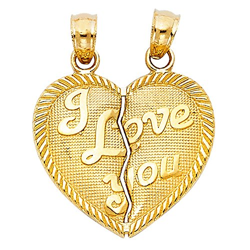 14k Yellow Gold ''I Love You'' Couple Broken Heart Pendant Charm by JewelrySuperMart Collection