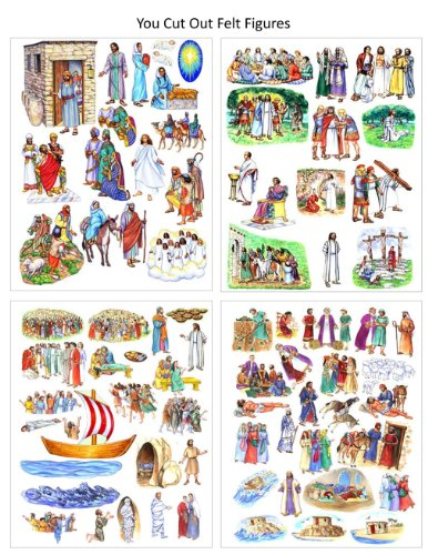 You Cut Out Felt- 13 Jesus Bible Stories Birth Crucifixion Parables Miracles- Felt Figures for Flannel Board Story Time Felts -