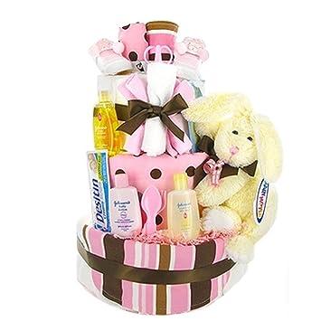 Amazon Trendy Pink Brown Diaper Cake Baby Shower Gift Idea