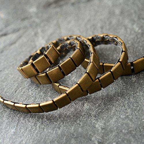 7mm Hot Fix Nailhead Trim, Metal iron-on Square Nailhead Trim by 1-yard, Antique Gold, - Nailhead Trim Large