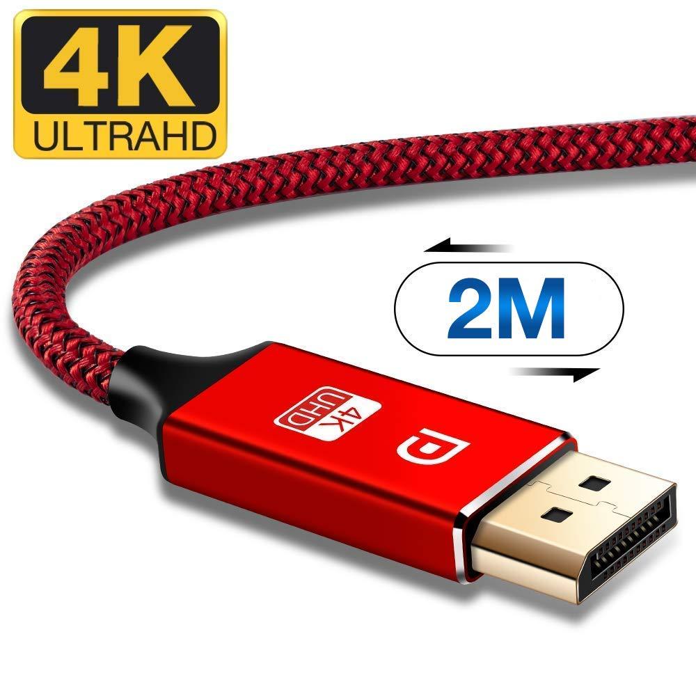 TV ,C/âble DisplayPort vers DisplayPort C/âble pour ordinateur portable C/âble de moniteur de jeu TV,PC ASUS//Dell//Acer Rouge 4K@60Hz,1440p@144Hz C/âble DisplayPort 2M,C/âble DP 4K en nylon tress/é