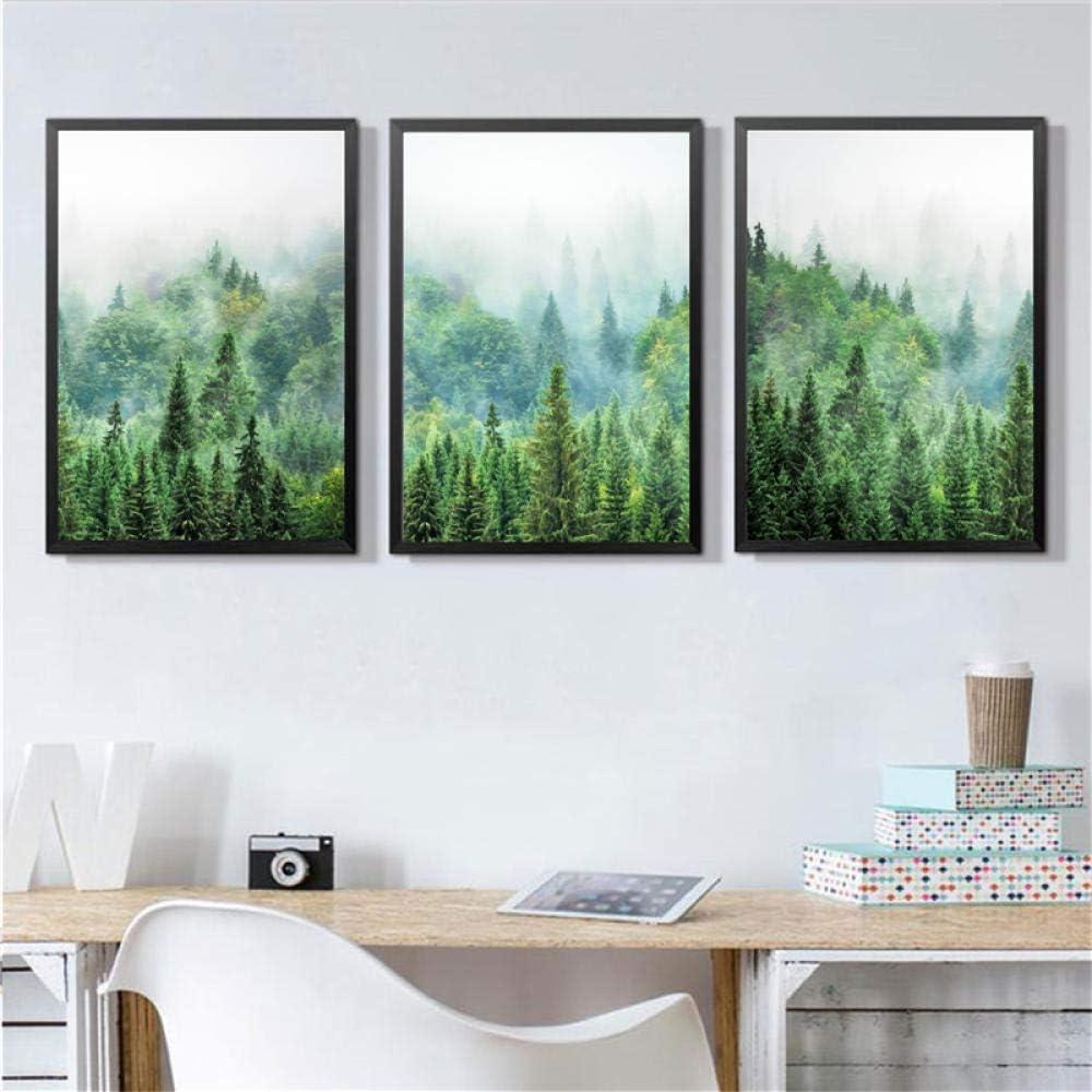 WSHIYI Scandinavian Forest Photography Wall Art Canvas Painting, Pine Forest Art Prints Wilderness Poster Woodland Nature Wall Decor-50x70cmx3pcs sin Marco