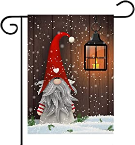 ORIY Christmas Gnome Garden Flag,Double-Sided Home Rustic Winter Garden Yard Decorations,New Year Vintage Seasonal Outdoor Flag 12 x 18inches for Holiday,Purple