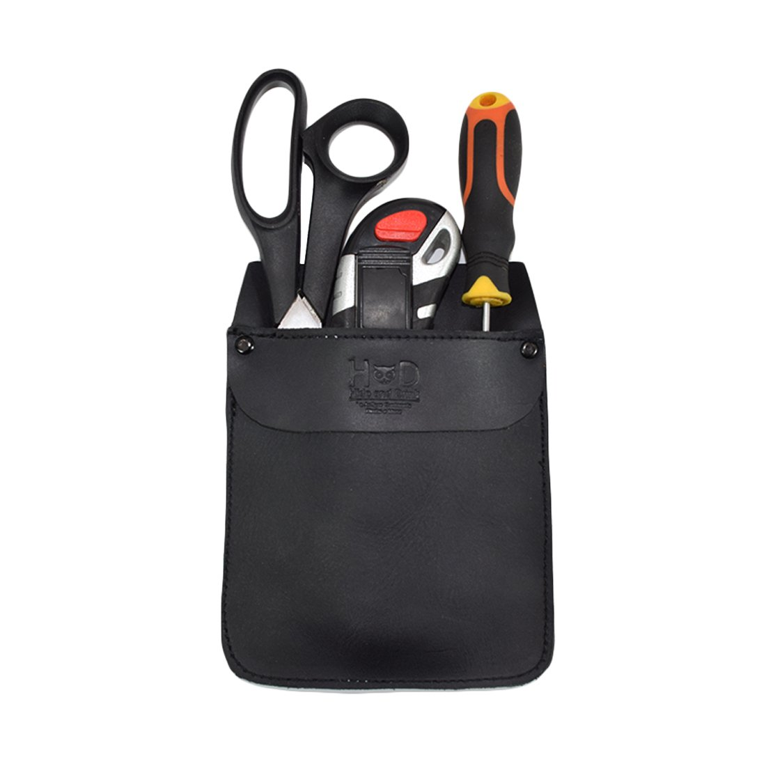 Durable Leather Work Pocket Organizer for Tools/Pens, Office & Work Essentials Handmade by Hide & Drink :: Charcoal Black