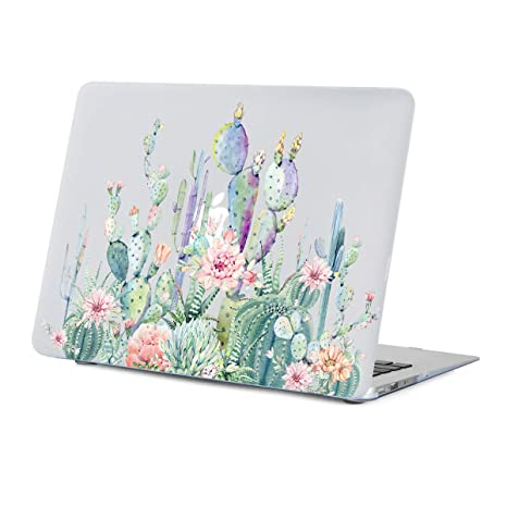 the best attitude fb6c0 d22bd MacBook Air 13 inch Case Floral, Cactus Design Case for A1466 A1369 MacBook  Air 13 inches,Rubber Coated Soft-Touch Matte See Through Clear Hard Shell  ...