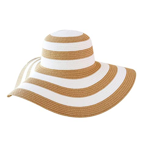 d0110b357 Amazon.com: MAOZIJIE Striped Sun Protection Caps Outdoor Sunhats Women  Straw Hat Summer Classic Striped Straw Hat Big Brim Outdoor Beach Caps:  Sports & ...