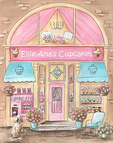 (Cupcake Wall Art, Personalized Gift For Girl, Pink Bakery Custom Girl's Name, Little Girls Room Wall Art, 6 Sizes - 5 x 7
