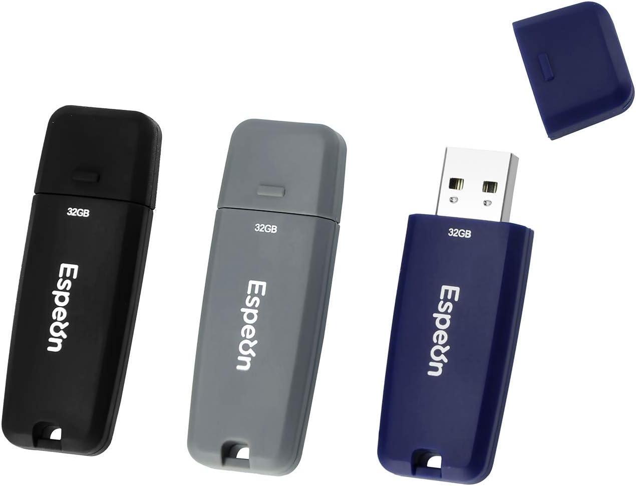 ESP32G3PKB Espeon 3-Pack 32GB USB 2.0 Flash Drive Dark Grey Business Colors Black Navy Blue