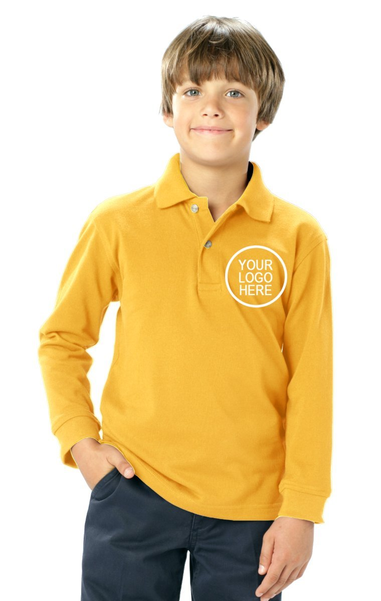 Blue Generation 24 Pieces Custom Logo Embroidered BG5207 Youth L/S Pocketless Superblend Polo (Yellow)