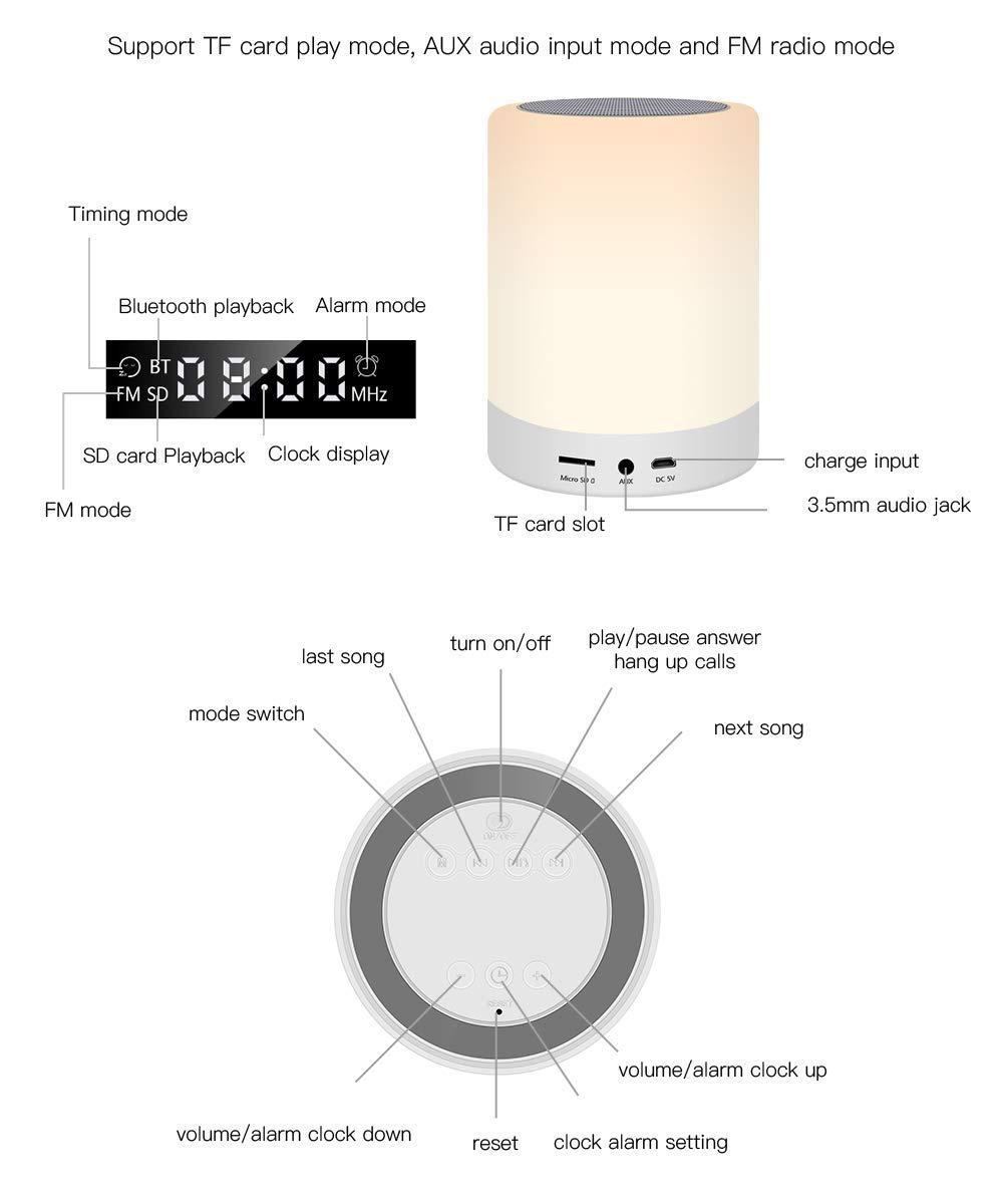 Lecteur de Musique MP3 Radio FM Veilleuse Bluetooth Haut-Parleur Lampe de Chevet Ranipobo Touch Sensor avec r/éveil Lampe Del /à Commande Tactile lumi/ères tamis/ées et 7 Couleurs