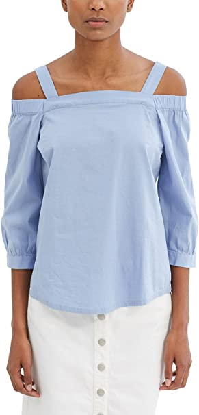 edc by ESPRIT Damen 037CC1F021 Bluse, Blau (Light Blue 440