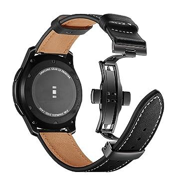 Myada - Correa de Repuesto para Samsung Galaxy Watch de 46 mm, 22 mm, Piel auténtica, Correa Deportiva de Metal con Hebilla de Mariposa para Samsung ...