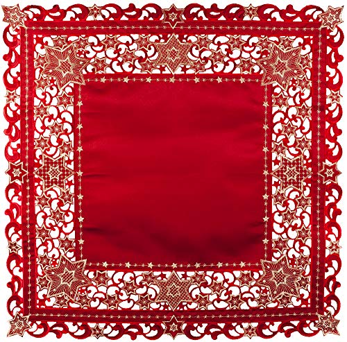(Embroidered Red and Gold Holiday Star of David Christmas Table Topper Small Tablecloth 33 Inches Square)