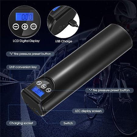 4YANG Mini Compressore dAria Portatile 150PSI 2000 mAh Auto Compressore Schermo Retroilluminato LCD Digitale Ricaricabile Illuminazione di Emergenza a LED per Auto Bicicletta Moto Pneumatici Palla