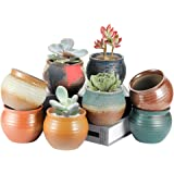 8 Pack Small Succulent Pots,LAERJIN 4 Inch Pots for Plants with Drainage Hole, Ideal Indoor Decor Ceramic Pots with Natural C