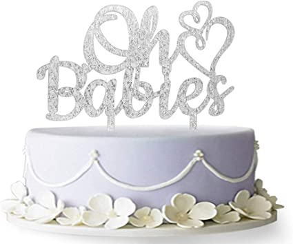 Awesome Amazon Com Oh Babies Cake Topper Twins Cake Topper Oh Baby Cake Personalised Birthday Cards Veneteletsinfo