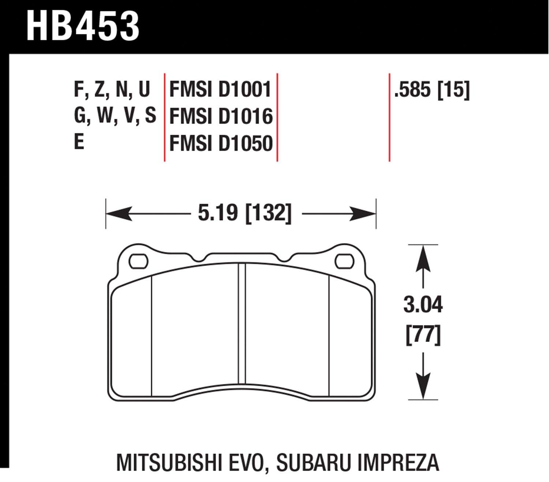 Hawk Performance HB453U.585 Disc Brake Pad