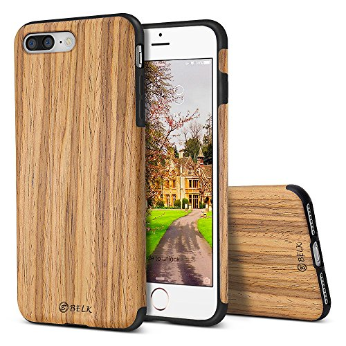 Case/iPhone 7 Plus Case, [Air To Beat] Non Slip Soft Wood Slim Bumper, Scratch Resistant Grip Ultra Light TPU Snap Back Cover with Rubber Corner for Apple iPhone 8 Plus/7 Plus ()