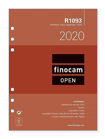Finocam - Recambio Anual 2020 semana vista apaisada Open R1093 español, 1000-155x215 mm